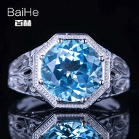 BAIHE Sterling Silver 925 3.76ct Certified Flawless 100% Genuine Blue Topaz Engagement Women Vintage Fine Jewelry fashion Ring