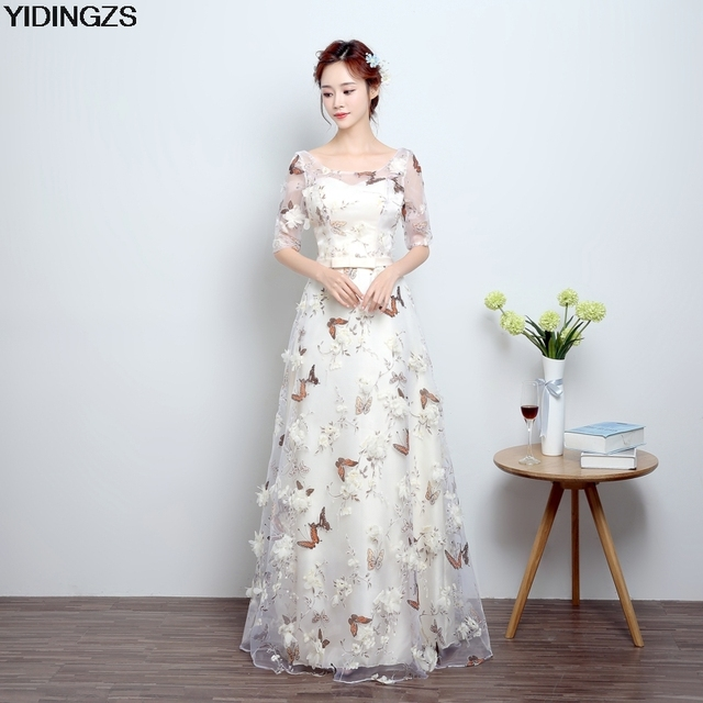 YIDINGZS Pink Floral Print Butterfly Eveving Dresses 2018 Half Sleeve Sweet Long Party Dress