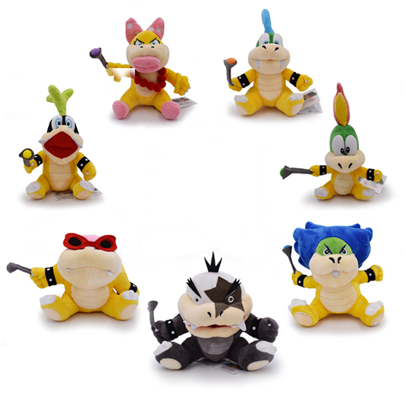 Super Mario Bowser Koopalings Plush Toys Doll Wendy LARRY IGGY Ludwig Roy Morton Lemmy O.Koopa Plush Stuffed Toys Gifts For Kids