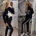 Plata Chándal 2016 Rusia Mujer Otoño Invierno Establece Negro Traje de Las Mujeres de Moda Conjunto patrón de Estrella (camisetas + Pants) trajes