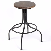 Elegant Vintage Iron Wood Bar Stool Seat Adjustable Height Chair For Garden Kitchen And Living Room
