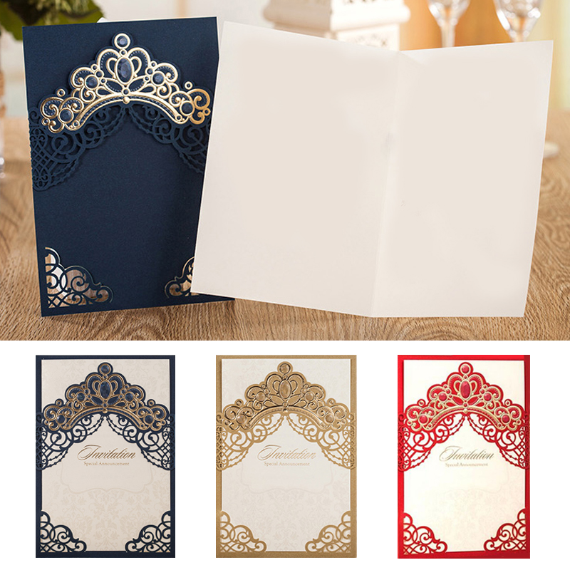 25pcs Gold Blue Red Laser Cut Luxury Crown Wedding Invitations Card Greeting Cards Printable Baby Shower Event & Party Supplies 1 design laser cut white elegant pattern west cowboy style vintage wedding invitations card kit blank paper printing invitation