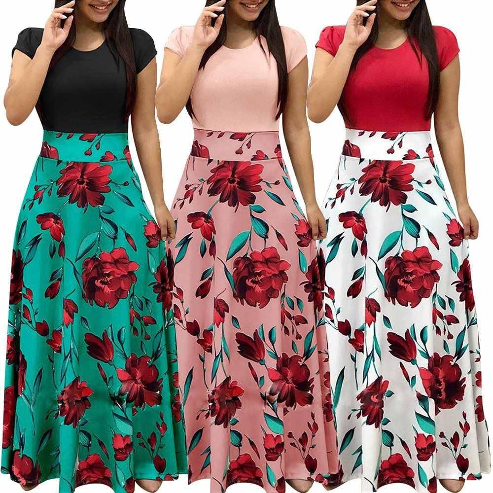 Moda 2019 Vestido De Verano Para Mujer Vestido De Manga Corta Estampado Para Mujer Elegante Vestido Floral De Playa Ropa Juvenil Para Mujer 1065