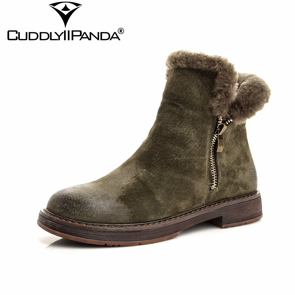 CuddlyIIPanda 2018 Winter 100% Sheep Wool Stylish Snow Boots High Quality Fur Women Chelsea Boots Zip Ankle Boots Botas Mujer
