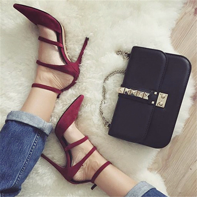 757e0dc4650 Sexy Red Women Pumps Straps Pointed Toe 10CM High Heels Wedding Dress Shoes  Woman Stiletto Gladiator Sandals Valentine Shoe-in Women's Pumps from ...