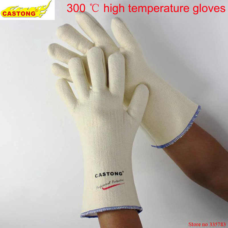 300 degrees heat insulation gloves High temperature resistant gloves to hot flame retardant anti-scald fire Aramid fiber woven