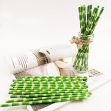 25pcs Bamboo Paper Straws Jungle Party Straws Bamboo Birthday Panda Party  Straws Panda Baby