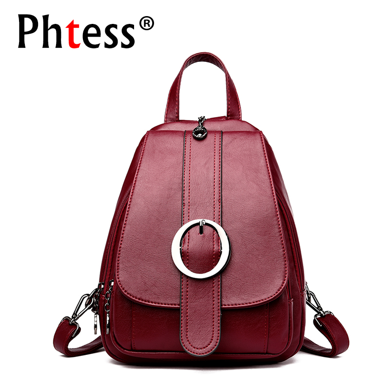 Small Leather Backpacks For Girls 2018 Women Vintage Backpack Designer High Quality Sac a Dos Female Solid Ladies Bagpack New women leather backpack vintage red school bags for teenagers girls large solid bag designer high quality sac a main backpacks