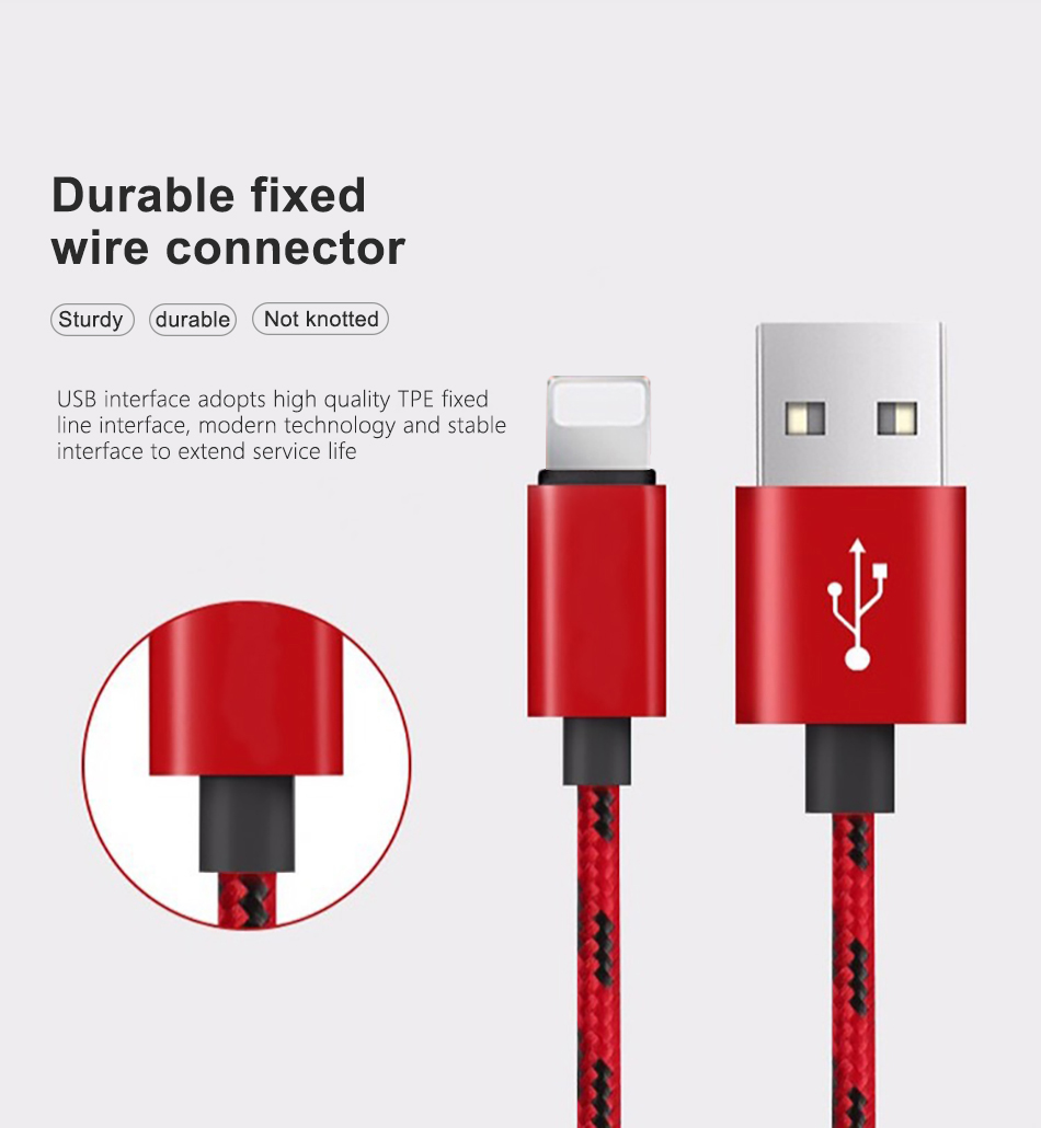 !ACCEZZ  Nylon USB Cable For Apple Fast Charging Data Sync Cord For iPhone X 7 6 8 5 Plus XR XS MAX Mobile Phone Charger Cables (4)