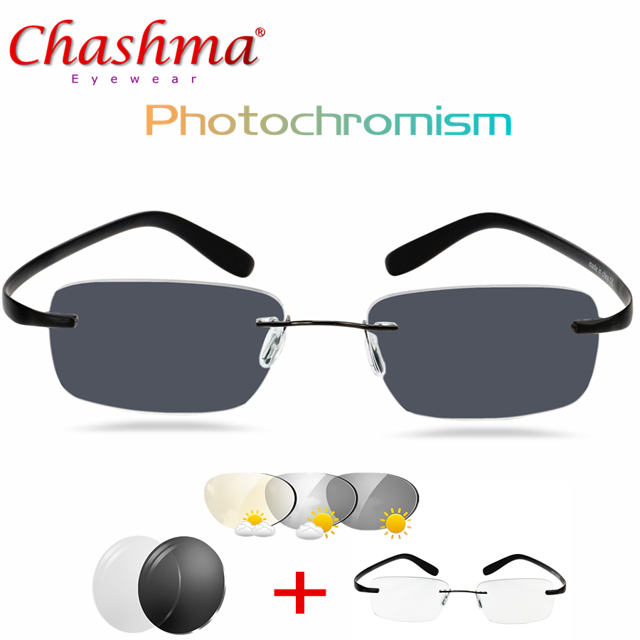 Titanium Transition Sunglasses Photochromism Reading Glasses Men Hyperopia with Diopters Presbyopia Rimles glasses