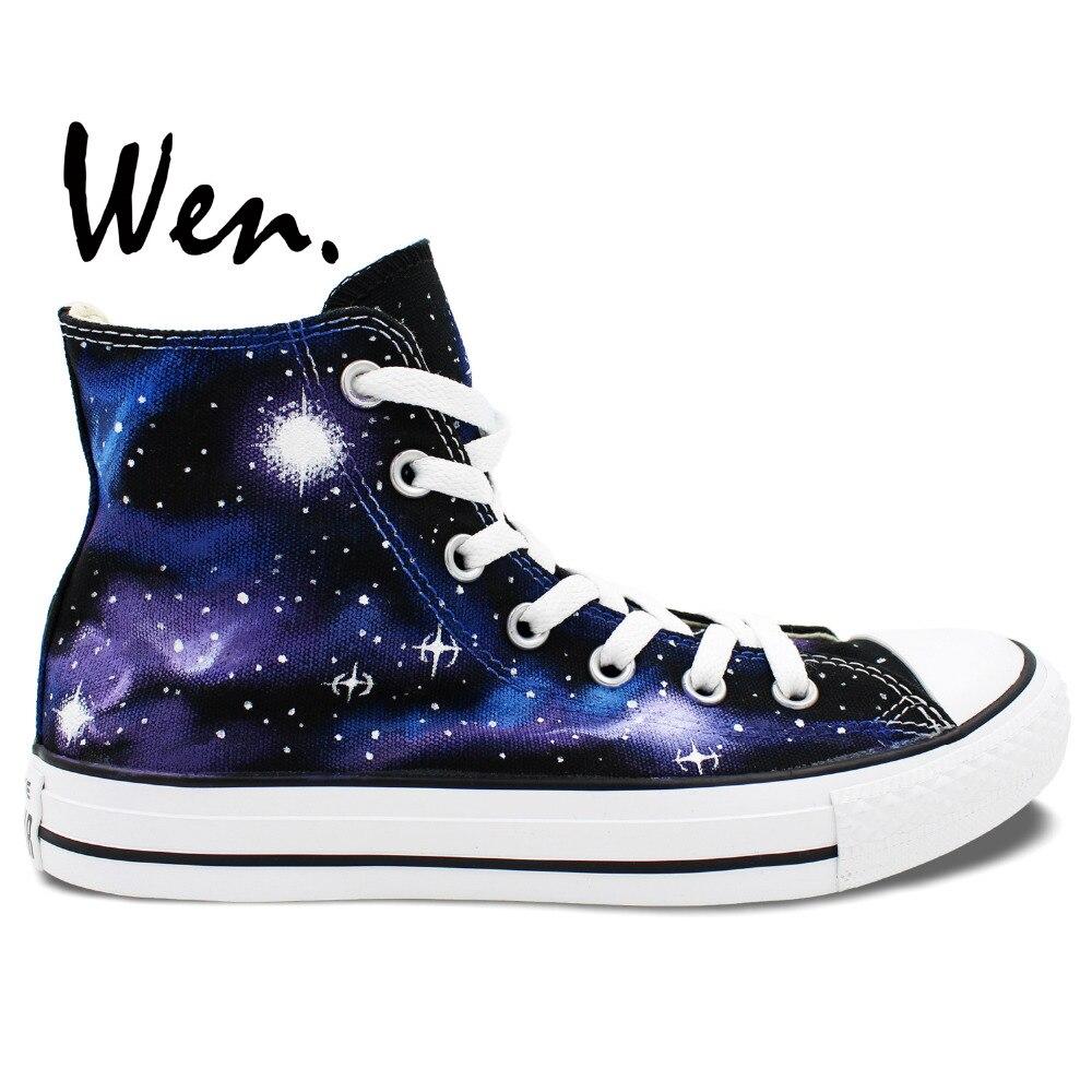 Wen Original Hand Painted Sneakers Design Custom Blue Purple Galaxy Stars Men Women's High Top Canvas Shoes