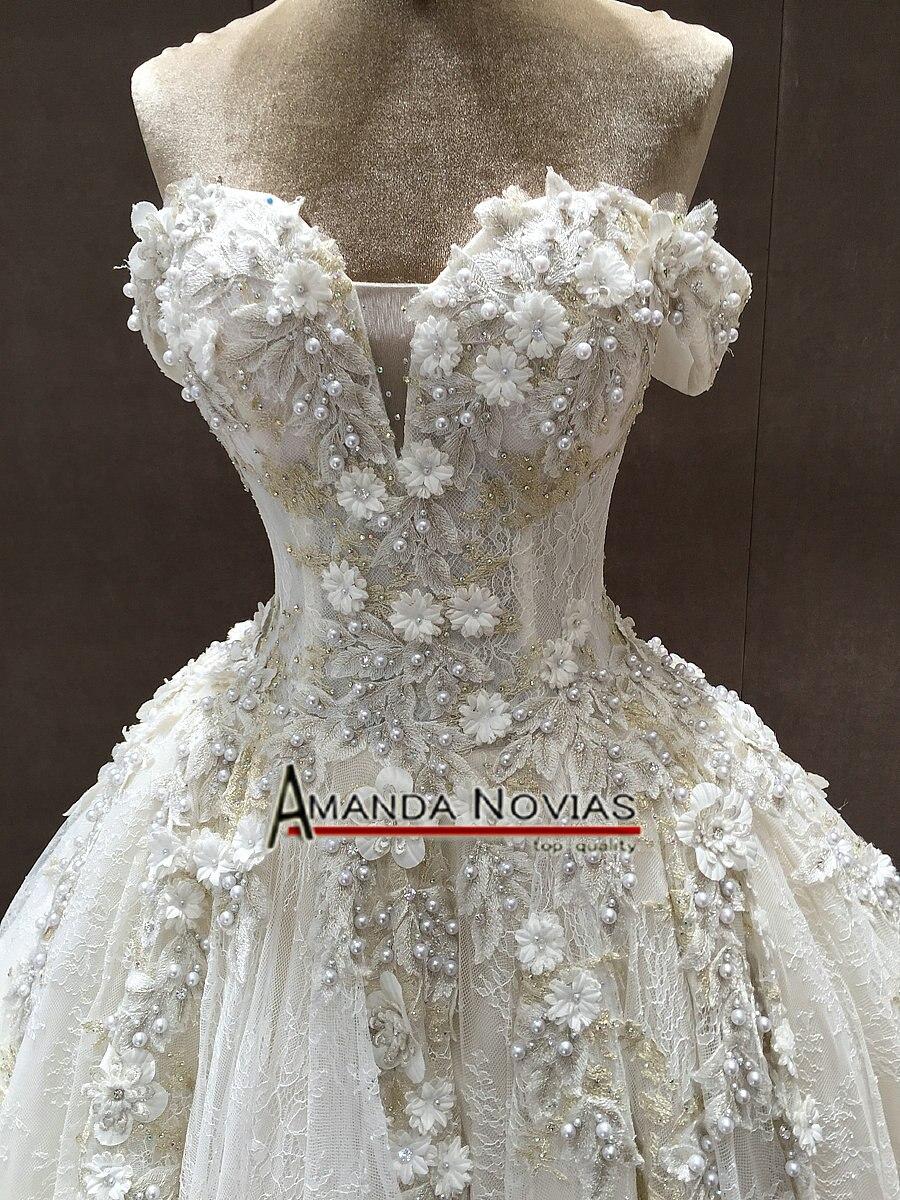 Image 3 - Off The Shoulder Straps Luxurious Wedding Dress With 3D Flowersluxury wedding dresseswedding dressluxurious wedding -