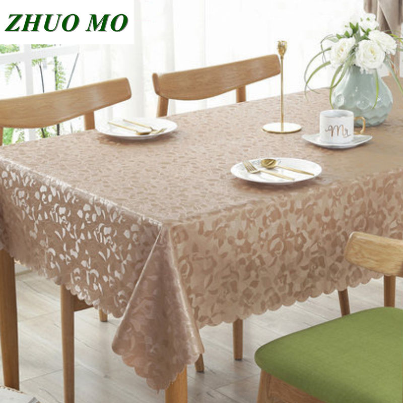 European PU Table Cloth Anti-scalding Oil-proof No Wash Table Cloth Kitchen Accessories Home Decoration Pink Round Tablecloth