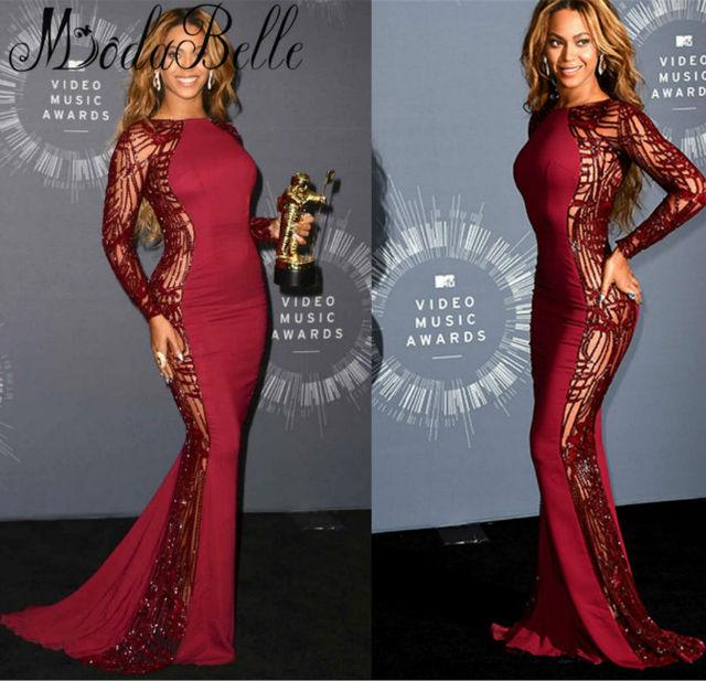 2017 Beyonce Sexy Sereia Vestidos Celebridade Manga Comprida Trem Da Varredura Beading Backless Vestidos de Noite Do Tapete Vermelho Vestidos Formais