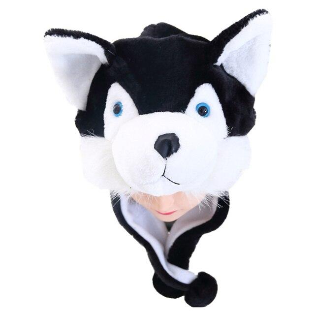 DOUBCHOW Unisex Adults Teenages Kids Boys Girls Cartoon Animal Hat Cute Black  Wolf Plush Winter Warm Cap Beanie hat 2016 Fashion c2bbd88b720