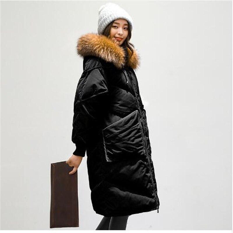 Nouvelle 4 À Duvet 2018 Long Veste 3 Chaud Hiver Grand Femelle Mode Capuchon Manteaux En Survêtement Lâche Fourrure 1 Femmes Coréenne De 2 Col f5nCq5