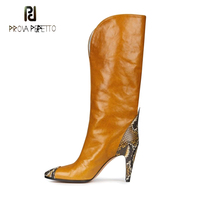Prova Perfetto yellow snake pattern leather patchwork slip on women boots pointed toe spike high heel casual cowboy boot female