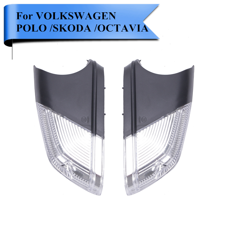 2PC Car Rearview Turn Signal Side Mirror Flasher Light For VW Polo Octavia 2004-2010 1Z0949101C / 1Z0949102C #P377