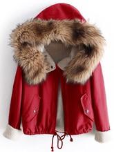 Women Fleece Lined Faux Fur Trim Jacket Hooded Coat Fashion Long Sleeve Pocket Patched Hooded Coat
