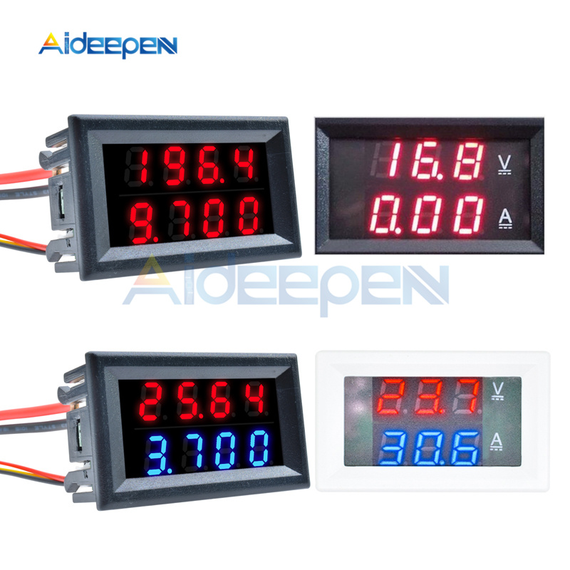 Mini 0.28 Inch <font><b>Digital</b></font> Voltmeter Ammeter 4 Bit 5 Wires <font><b>DC</b></font> <font><b>100V</b></font> 200V 10A <font><b>50A</b></font> Voltage Current Meter Red Blue <font><b>LED</b></font> <font><b>Dual</b></font> Display image