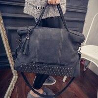 2017 New Fashion Vintage Scrub Tassel Handbag Women Messenger Bags Casual Big Bag Women S Handbags