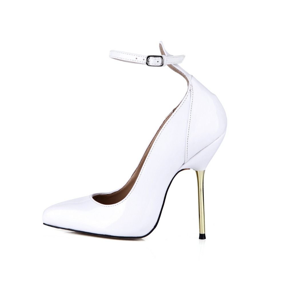 Hot 2018 Sexy Mature Pointed Toe Women Pumps Metal Stiletto Heel Shoes Ladies High Heels Large Size Buckle Celebrity Party Shoes gaozze fashion polka dot mesh women sexy stiletto high heel shoes pointed toe party shoes pumps women heels pumps 2018 spring