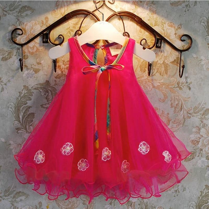 2017 summer A-line chiffon flowers party princess girl dress baby girls dress children kids clothes vestidos de menina 3-7T