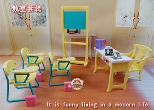 Image 2 - New fashion Classroom chairs + blackboard Gift Set doll accessories doll house furniture set for barbie doll baby girls DIY toys