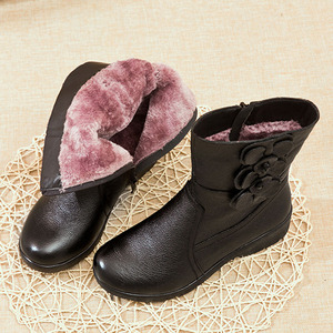 Image 5 - DRKANOL Fashion Women Snow Boots Winter Thick Plush Warm Wedge Mid Calf Boots Side Zipper Sweet Flowers Winter Mother Boots