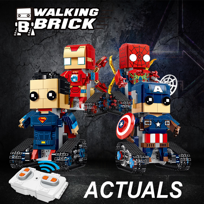 Legoing Mavel RC Building Blocks Bricks Figures Remote Control Avengers DC Super Heroes Model IRONMAN SPIDERMAN CAPTAIN SUPERMAN