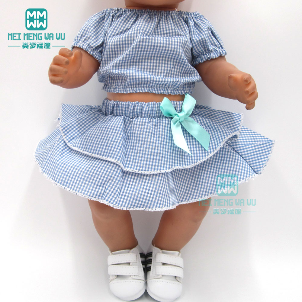 Doll Clothes For 43cm Baby New Born Doll And American Doll Blue Plaid Dress Shoes