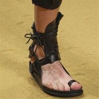 2018 Men Shoes Front Lace Up Men Flats Hot New Brand Shoes Buckle Design 2 in 1 Men Gladiators Solid Men Thong Sandals High Top