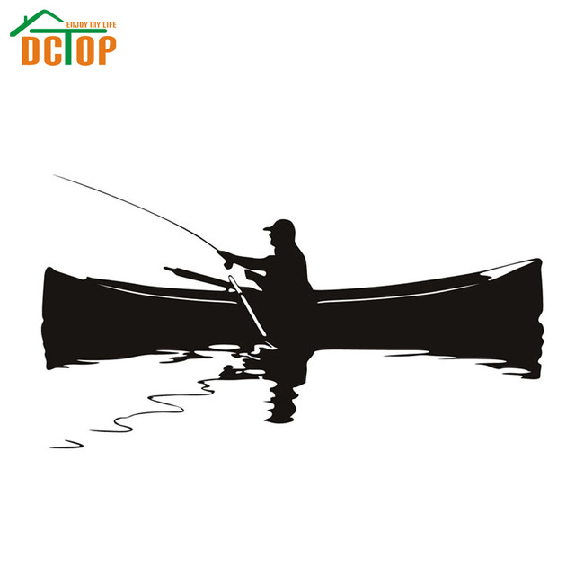 Dctop modem a man fishing on the boat silhouette wall for Fishing boat decals