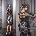 Black Cocktail Dresses Sheath High Neck Sheer Long Illusion Lace Appliques Long Sleeve Short Mini Graduation Dresses