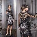 Preto Cocktail Dresses bainha alta pescoço completo longa Illusion Lace apliques manga comprida curto Mini vestidos de formatura