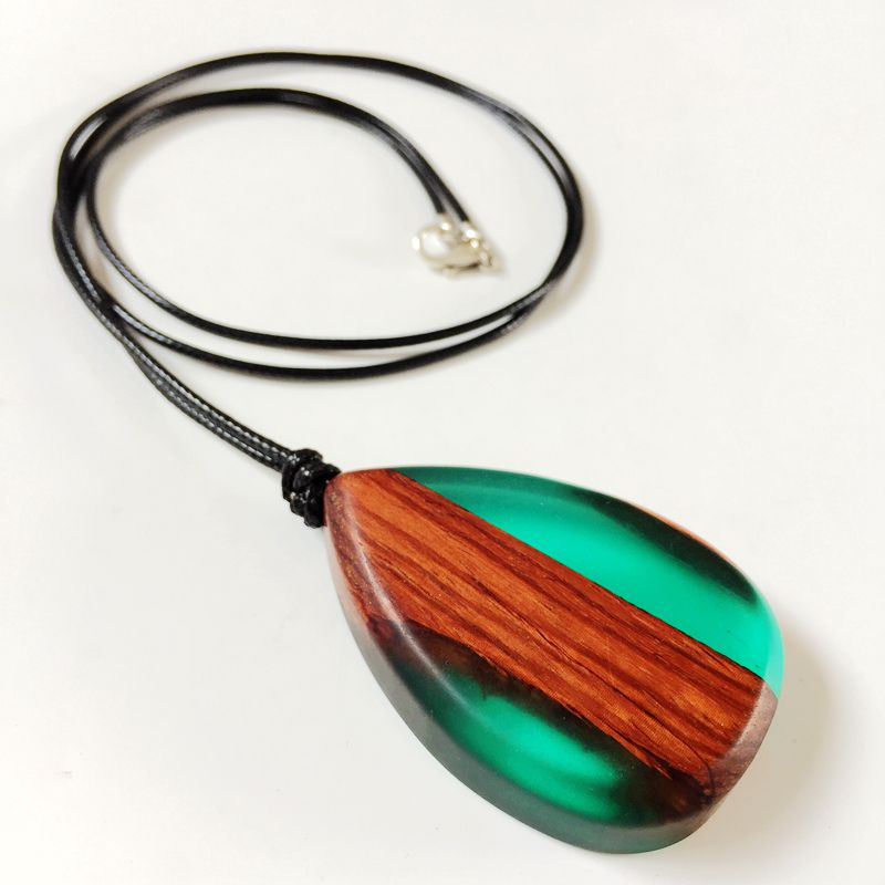Free Shipping Fashion Wood Resin Teardrop Pendant Necklace