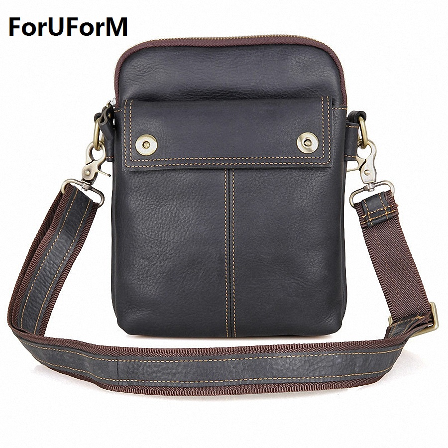 HOT!! 2017 Genuine Leather Bags Men High Quality Messenger Bags Small Travel Black Crossbody Shoulder Bag For Men LI-1611 xi yuan 2017 genuine leather bags men high quality messenger bags small travel dark brown crossbody shoulder bag for men gifts