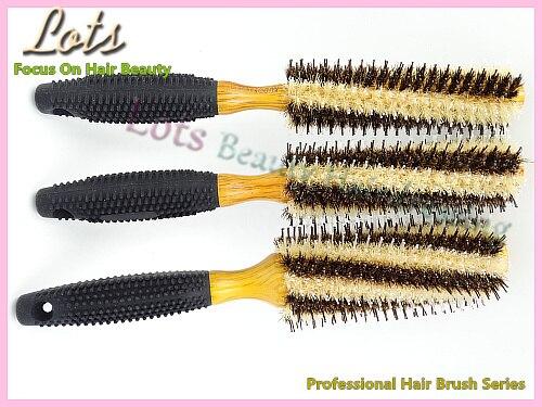 Professional Salon Barber Brush Anti heat Hair Combs for Hairdresser, Anti-Slide Rubber Handle + Nylon +Wood Hair Curling Brush