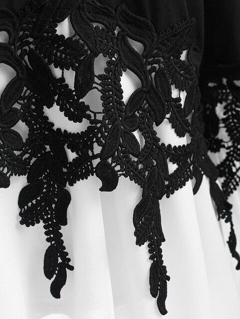 PlusMiss Plus Size 5XL Sexy Bell Flare Sleeve Chiffon Tunic Tops Lace Crochet Peplum Blouse Women Clothing Big Size Autumn 2018 4
