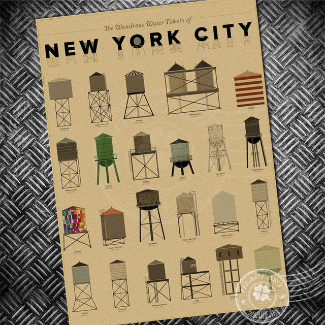Free ship vintage poster new york city water tower chart retro painting wall art sticker print