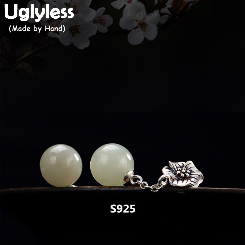 цена на Uglyless Real 925 Sterling Silver Natural Jade Beads Drop Earrings for Women Women Simple Vintage Flower Brincos Handmade Bijoux