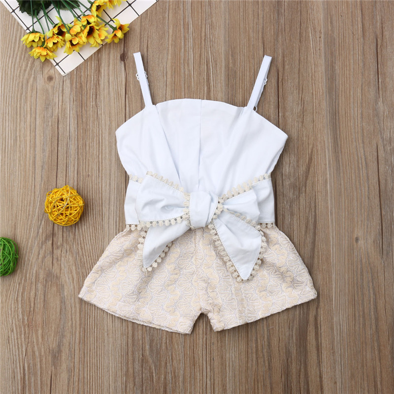 Princess Kids Baby Girl   Rompers   Adjustable Belt Girl Lace Flower Playsuits Patchwork Jumpsuits Big Bow Sling   Rompers   1-4Y