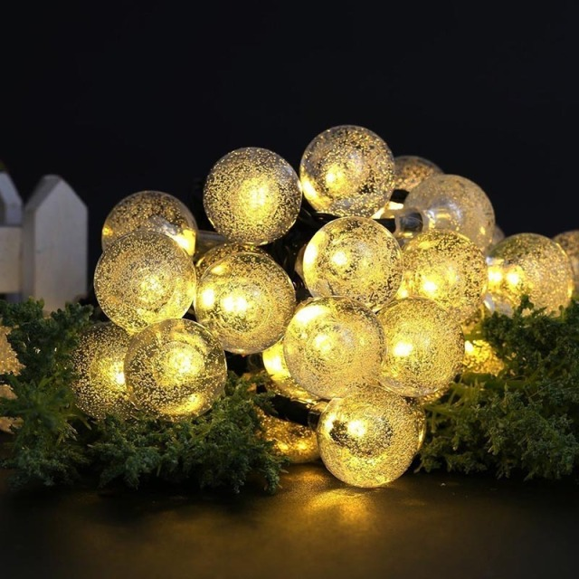 5 Meters Outdoor Solar Power LED String Lights 20 LED Warm White Crystal Globe  Lights Waterproof