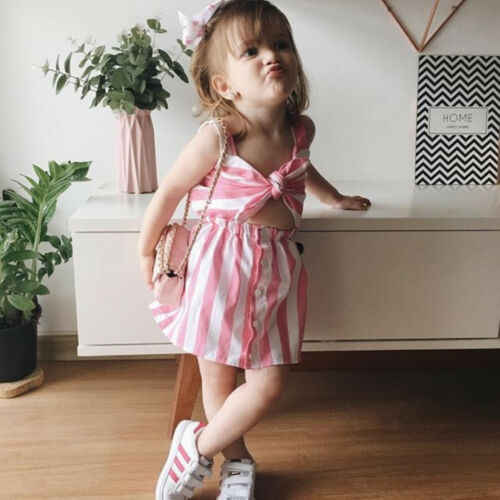 94d89ebb8d8cd 2019 Fashion Mother&Daughter Dresses Matching Mom Girls pink Stripe back  Bow Maxi women baby girl Dress Family Clothes