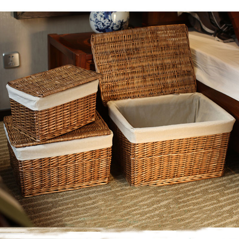 Storage basket with lid best storage design 2017 - Rattan laundry basket with lid ...