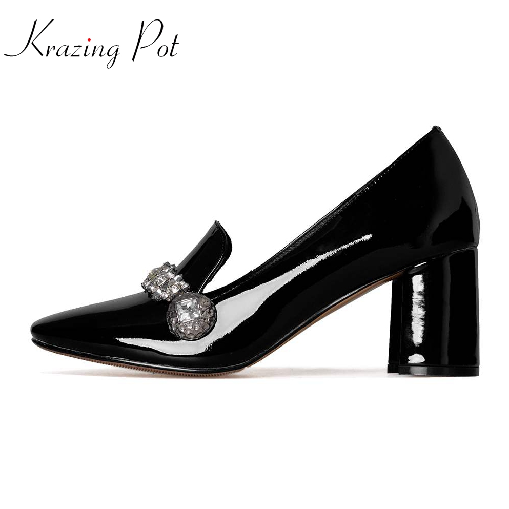 Krazing Pot genuine leather bling crystal slip on pumps square toe preppy style wedding party thick high heels brand shoes L0f1 2018 patent leather slip on keep warm pumps for women square toe preppy style pearl wedding med heels brand winter shoes l18