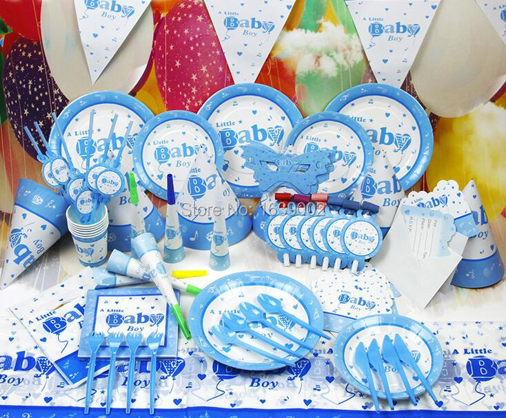 Baby Shower Decoration Sets Part - 18: 78 PCS Free Shipping For 6 Peoples Blue Baby Boy Birthday Theme Party Tableware  Set Baby Shower Decoration (STPT-010)