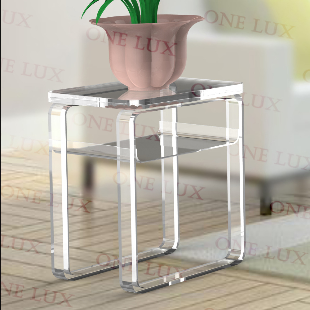 Elegant ONE LUX Plexiglass Portable End Corner Table ,Lucite Acrylic Occasional  Sofa Tables,Perspex Small Furnitures In Coffee Tables From Furniture On ...