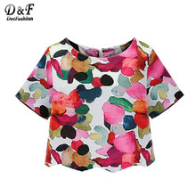 Dotfashion Woman Shirts Summer 2016 New Crew Neck Ikat Neat Awesome Floral Cute Blouses Casual Short Sleeve Blouse
