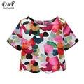 Dotfashion camisetas mujer verano 2016 nuevo cuello de equipo Ikat Neat impresionante Floral blusas lindas Casual manga corta blusa